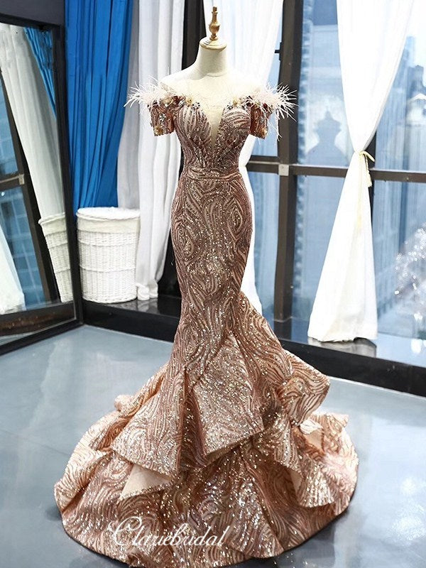 Glitter Luxury Unique Long Prom Dresses, Modest Sequins 2020 Newest Prom Dresses