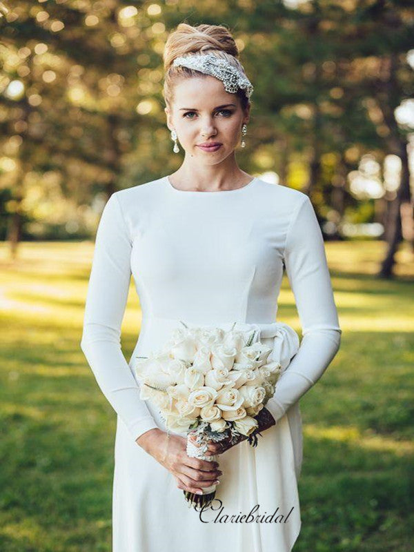 2019 Spring Simple Wedding Dress with Long Sleeves, Custom Design Bridal Gowns