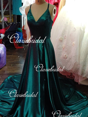 Feedback for Dark Teal Elastic Satin Dress