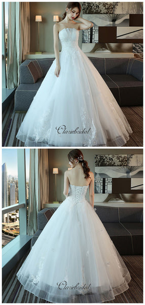 Sweetheart Strapless A-line Wedding Dresses, Beaded Lace Fancy Wedding Dresses