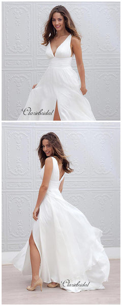Simple Chiffon Design Wedding Dresses, V-neck Wedding Dresses With Slit, Bridal Gowns
