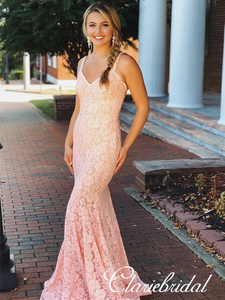 Straps Long Mermaid Pink Lace Beaded Prom Dresses, Lovely Prom Dresses, Prom Dresses