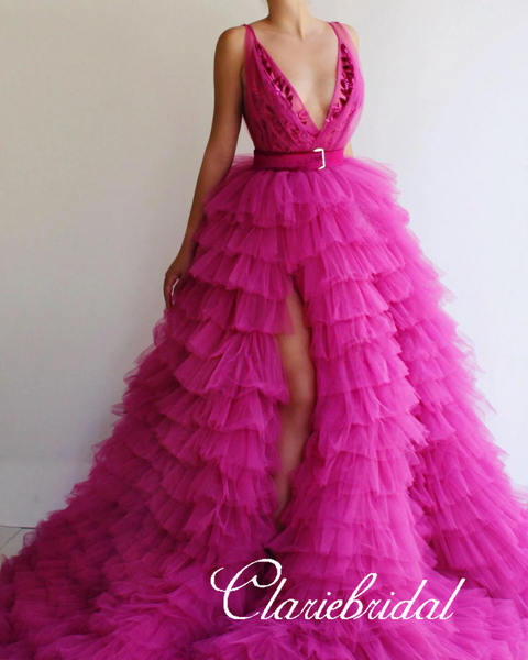 Deep V-neck Long A-line Fluffy Tulle Prom Dresses, Hot Pink Prom Dresses, Hi-low Prom Dresses