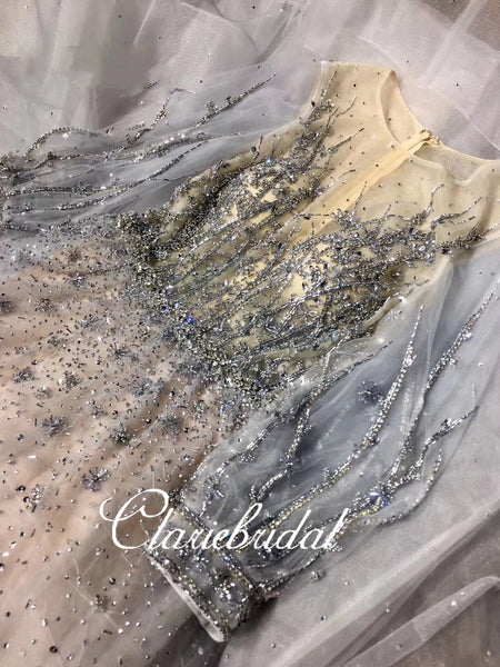 Long Sleeves Beaded Tulle Prom Dresses, Luxury Prom Dresses, 2020 Claire Deign Prom Dresses