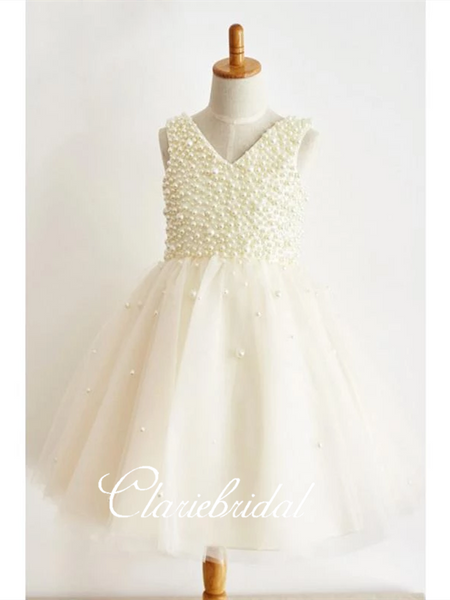 V-neck Ivory Pearl Tulle Flower Girl Dresses, Lovely Flower Girl Dresses, Little Girl Dresses