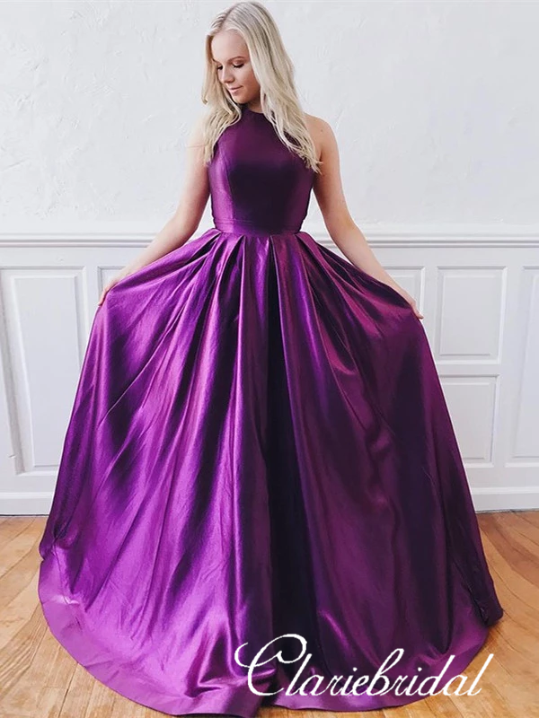 Long A-line Purple Satin Prom Dresses, Affordable Prom Dresses, High Quality Prom Dresses