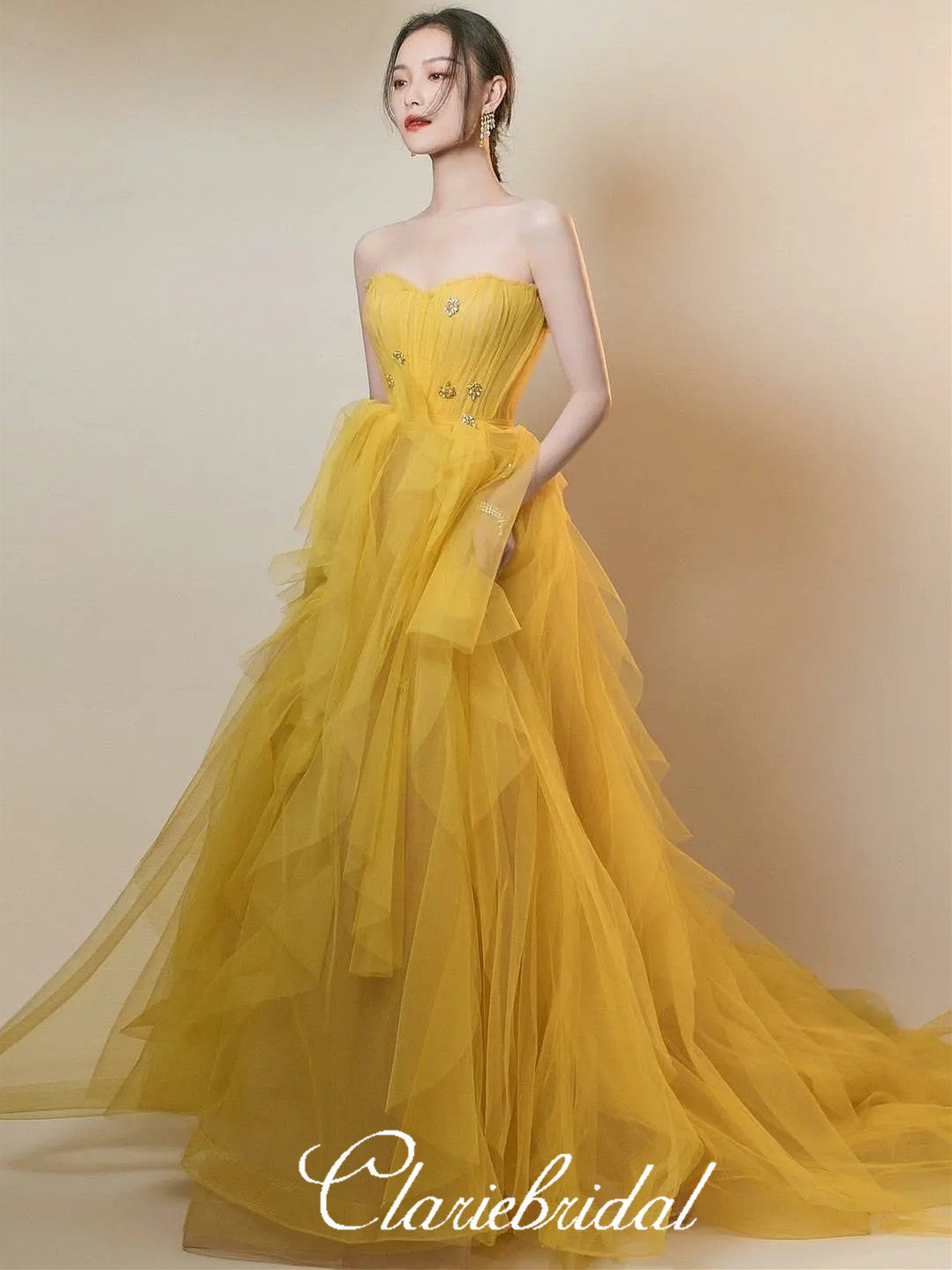 Strapless Long A-line Yellow Tulle Beaded Prom Dresses, Lovely Prom Dresses, Newest Prom Dresses