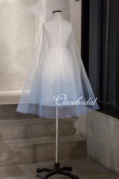 Lovely Ice Blue-White Sparkle Flower Girl Dresses, Elsa Inspired Newest Flower Girl Dresses