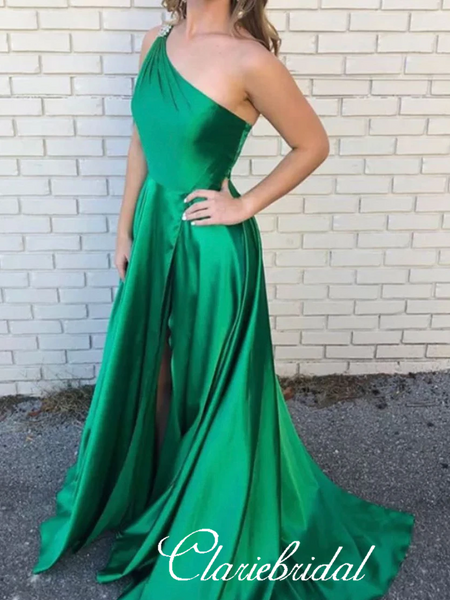 One Shoulder Green Satin Prom Dresses, Beaded Lovely Prom Dresses, Prom Dresses