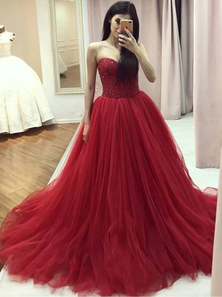 Sweetheart Red Beaded Tulle Prom Dresses, Newest Prom Dresses, Lace Up Prom Dresses
