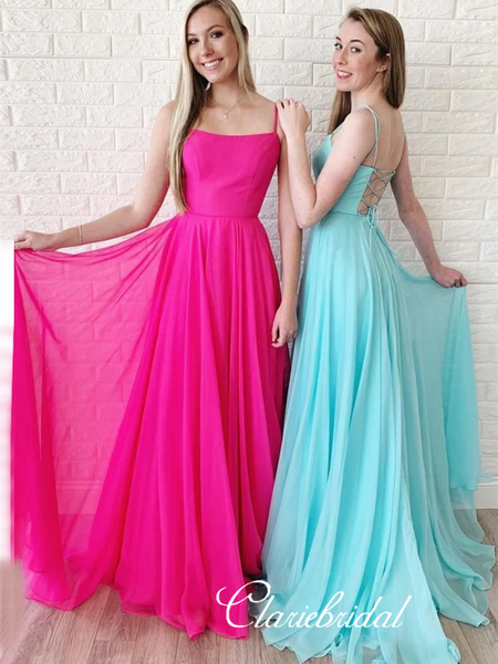 Long A-line Chiffon Prom Dresses, Lace Up Prom Dresses, Simple 2020 Prom Dresses