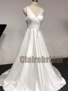 Feedback for Simple Ivory Satin Wdding Gown