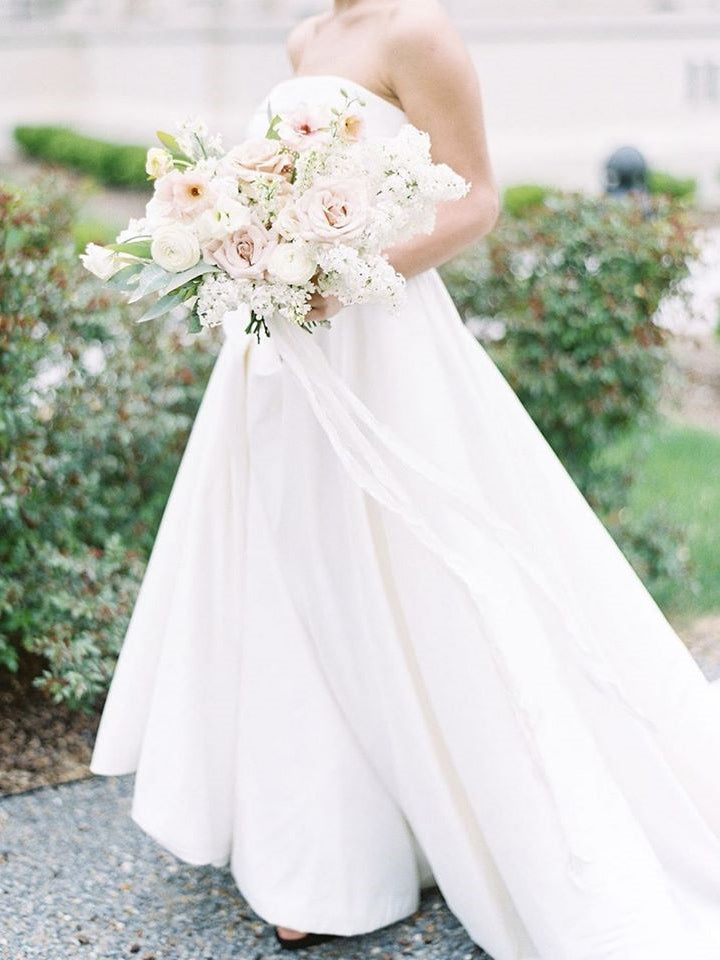 Strapless Long A-line Satin Wedding Dresses, Simple Elegant Wedding Dresses, Bridal Gown