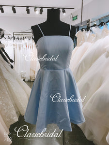 Feedback for Simple Blue Satin Short Prom Dresses