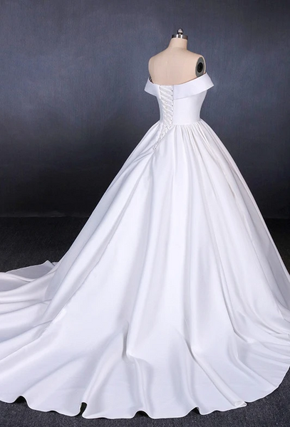 Ivory Off Shoulder Simple Elegant Satin Wedding Gown, A-line Classic Wedding Dresses
