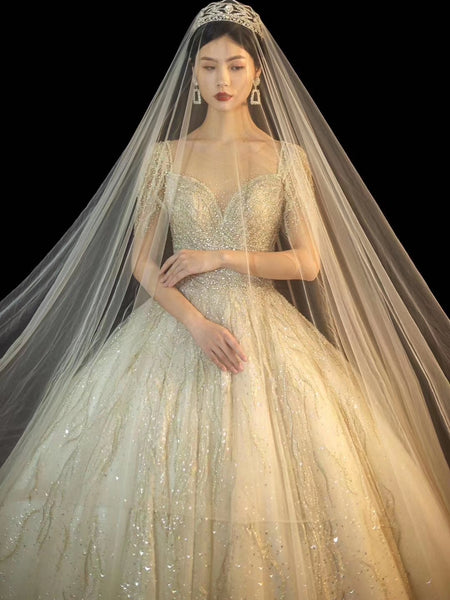 Lxury Sequin Beaded Ball Gown Wedding Dresses, Bridal Gown, New Claire Design Wedding Dresses