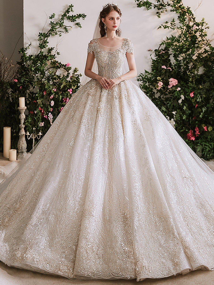 Cap Sleeves Luxury Beaded Tulle Wedding Dresses, Long Train Bridal Gown, High Quality Wedding Dresses