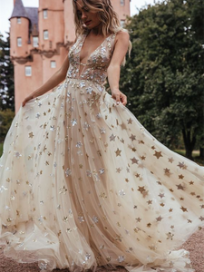 Deep V-neck Star Sequin Prom Dresses, Wedding Dresses, Newest Prom Dresses, 2021 Prom Dresses