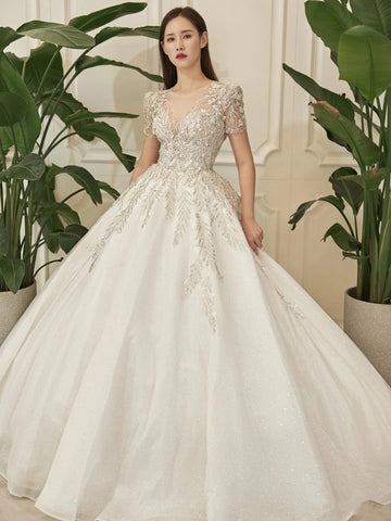 Short Sleeves Beaded Lace A-line Wedding Dresses, Long Bridal Gown, Shemmering Wedding Dresses
