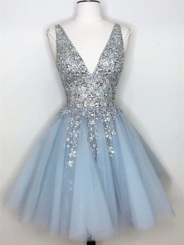 V-neck Light Blue Beaded Tulle Homecoming Dresses, Popular Short Prom Dresses, Homecoming Dresses