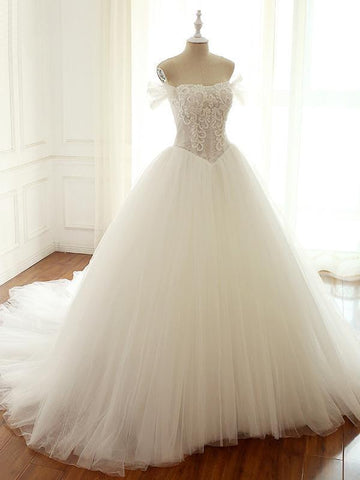 Off Shoulder Lace Tulle Long Wedding Dresses