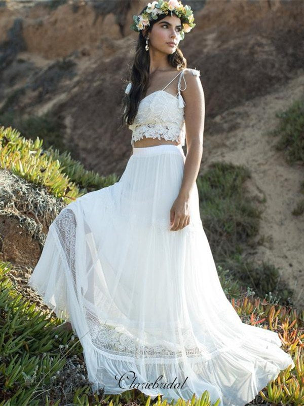 Two Pieces Lace Wedding Dresses, A-line Wedding Dresses, Popular Wedding Dresses