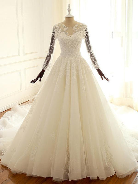 Luxury Long Sleeves Lace Appliques Tulle Wedding Dresses
