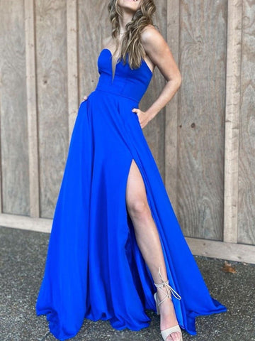 Strapless A Line Long Prom Dresses 2021, Royal Blue Evening Party Dresses, Cheap Prom Dresses