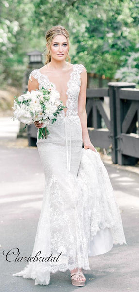 Sexy V-neck Wedding Dresses, Mermaid Lace Popular Wedding Dresses