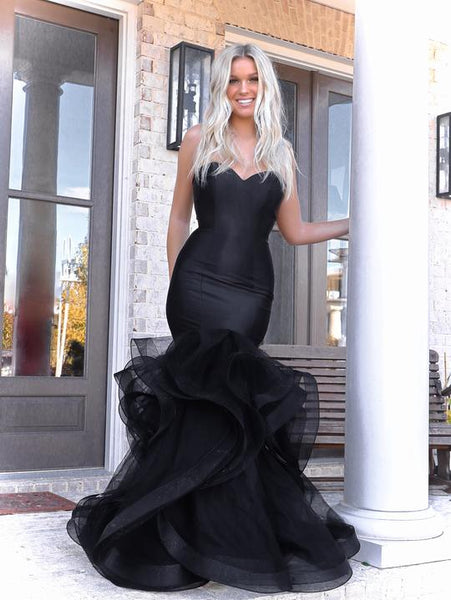 Sweetheart Long Mermaid Black Organza Satin Prom Dresses, Popular Prom Dresses, 2021 Prom Dresses