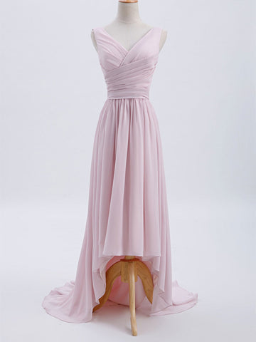V-neck Hi-low Chiffon Bridesmaid Dresses, Long Bridesmaid Dresses, Cheap Bridesmaid Dresses