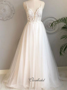 Spaghetti Straps Tulle Wedding Dresses, Lace Open Back Trendy Wedding Dresses