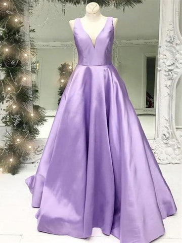 Purple Color Elegant A-line Prom Dresses, Stain V-neck Prom Dresses