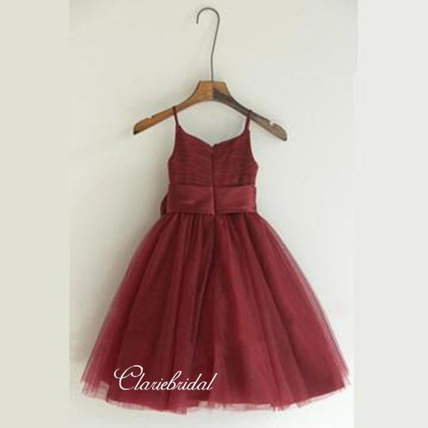 Burgundy Appliques Flower Girl Dresses, Cute Little Girl Dresses