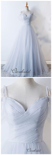 Simple Design A-line Tulle Wedding Dresses, Beaded Wedding Dresses, Fancy Bridal Gowns