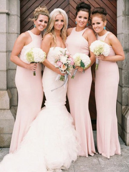 Pink Mermaid Long Bridesmaid Dresses, Lovely Bridesmaid Dresses, Long Bridesmaid Dresses