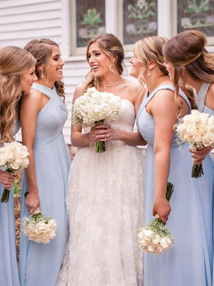 Light Blue Long Chiffon Bridesmaid Dresses, A-line Bridesmaid Dresses, Popular Bridesmaid Dresses