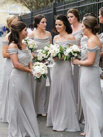 Long A-line Grey Chiffon Bridesmaid Dresses, Popular Bridesmaid Dresses, Long Bridesmaid Dresses
