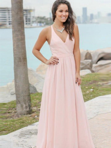 V-neck Blush Pink Chiffon Lace Bridesmaid Dresses, A-line Bridesmaid Dresses, Long Bridesmaid Dresses
