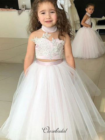 Two Pieces Design Flower Girl Dresses, Halter Lace Flower Girl Dresses