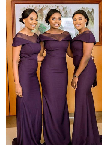 Elegant Long Mermaid Purple Bridesmaid Dresses, Short Sleeves Bridesmaid Dresses, Cheap Bridesmaid Dresses