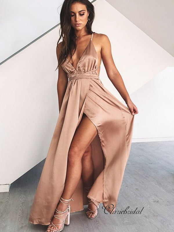 Spagehetti Straps High Slit Prom Dresses, Deep V-neck Sexy Prom Dresses Long