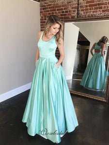 Satin A-line Newest Prom Dresses, Long Prom Dresses With Pocket