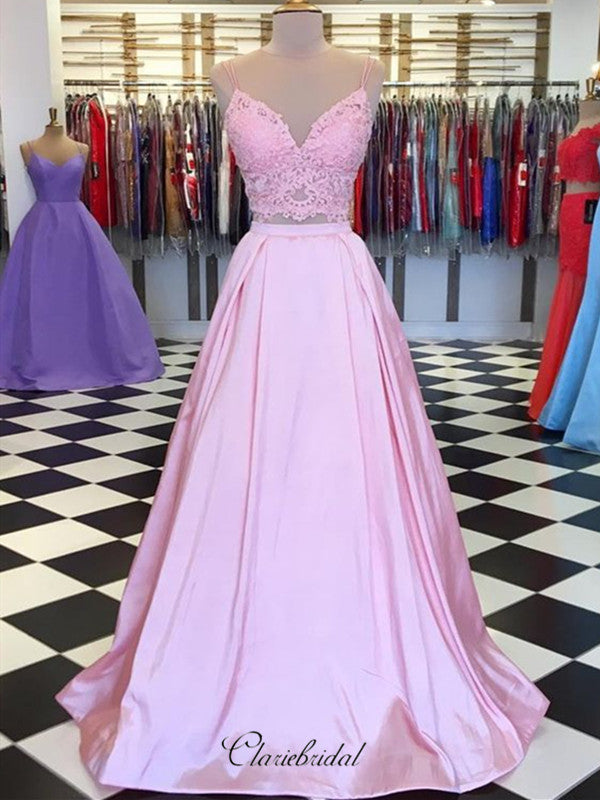 Satin A-line Long Prom Dresses, 2 Pieces Lace Prom Dresses