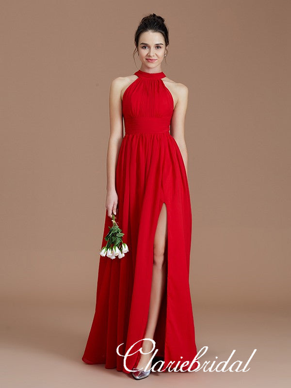 Lovely A-line Red Chiffon Side Slit Long Bridesmaid Dresses