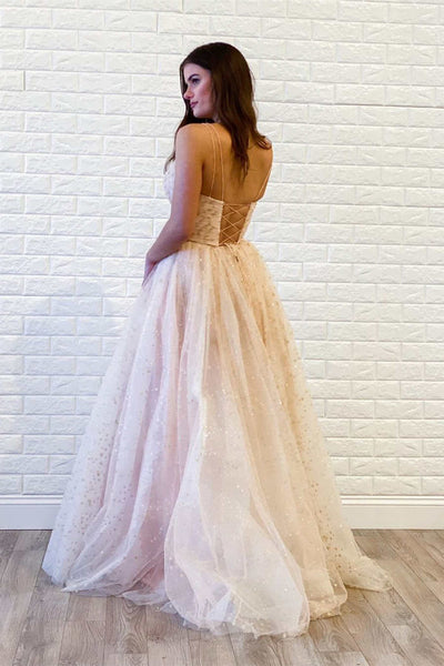 Spaghetti Long A-line Star Sequin Tulle Prom Dresses, Shiny Prom Evening Dresses