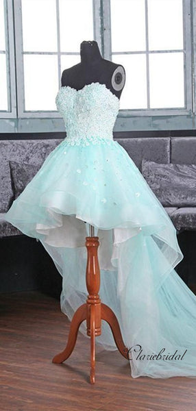 Sweetheart Strapless Tulle Lace Prom Dresses, High Low Newest 2020 Prom Dresses