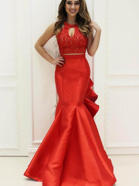 2 Pieces Red Lace Top Prom Dresses, Satin Mermaid Prom Dresses, Long Prom Dresses