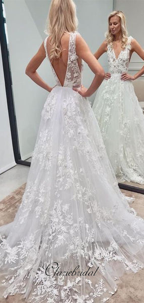 Deep V-neck Sexy A-line Tulle Wedding Dresses, Lace Design Bridal Gowns