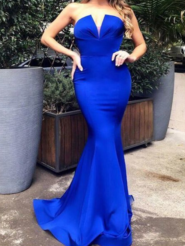 Strapless Newest Prom Dresses Long, Mermaid 2020 Prom Dresses